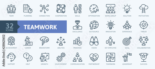 Business teamwork, team building, work group and human resources minimal thin line web icon set. Outline icons collection. Simple vector illustration. - 288621652