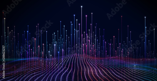 Abstract dot point connect with gradient line and aesthetic Intricate wave line design , internationalization social network or business big data connection technology concept .