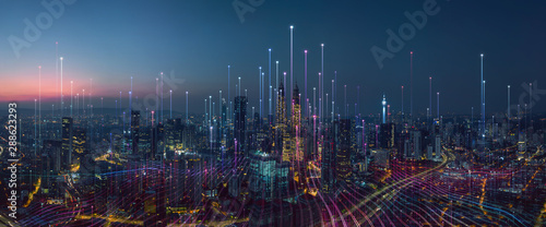Fotografía Smart city and abstract dot point connect with gradient line and aesthetic Intricate wave line design , big data connection technology concept