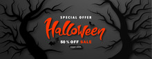 Halloween Sale Promotion Poster With Trees And Paper Bats On Black Background.Vector Illustration For Website , Posters, Ads, Coupons, Promotional Material.