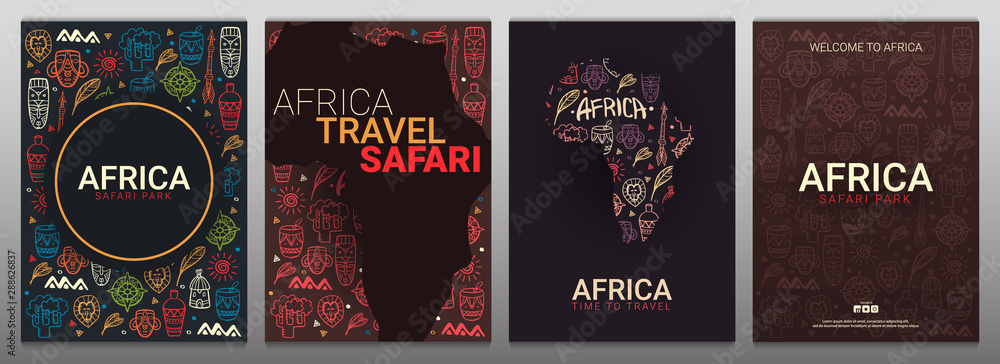 Fototapeta Set of Africa banners. Safari Park. Colorful illustration with hand draw doodle Background.