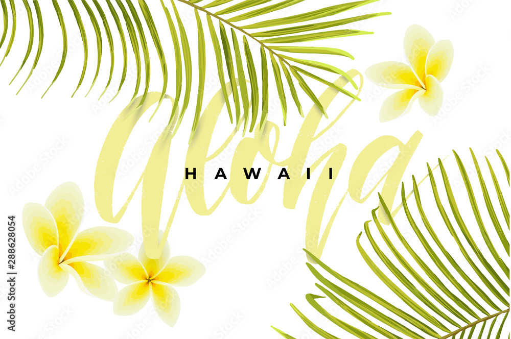 Fototapety, obrazy: Tropical vector design with green palm leaves, plumeria flowers, pineapples and hand drawn Aloha inscription. Summer hawaiian illustration.