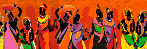 African women silhouettes in national clothes seamless pattern Wallpaper Mural