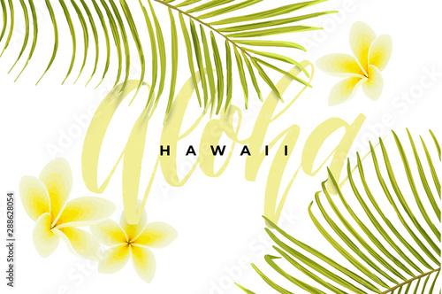 Projekt tropikalny wektor z zielonych liści palmowych, kwiatów plumeria, ananasy i ręcznie rysowane napis Aloha. Ilustracja hawajska lato.