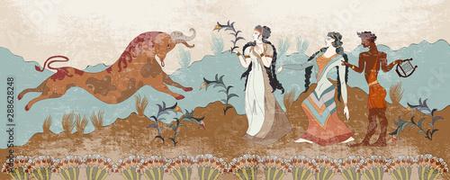 Ancient Greece frescos Canvas Print