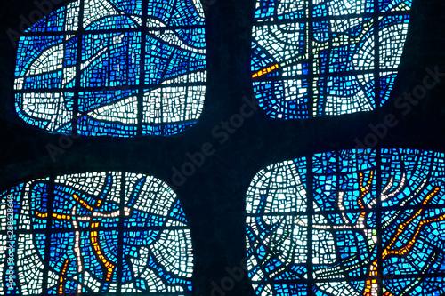 Stained glass window in Arantzazu sanctuary cathedral Fototapet