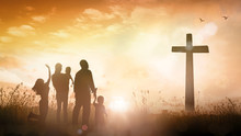 Big Family Worship Concept: Silhouette People Looking For The Cross On Autumn Sunrise Background