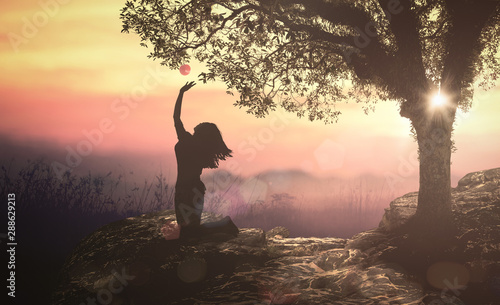 Canvas Print Bible story: Eve and forbidden tree with fruit in Eden garden