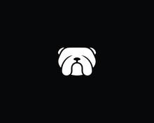Creative And Minimalist Bulldog Logo Design Icon | Editable In Vector Format In Black And White Color