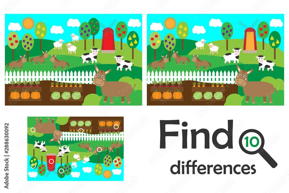 Fototapeta Find 10 differences, game for children, farm animals and garden cartoon, education game for kids, preschool worksheet activity, task for the development of logical thinking, vector illustration