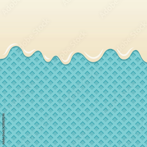 Fotografie, Obraz  Flowing milk cream on blue wafer vector.