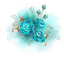 Three Turquoise Roses
