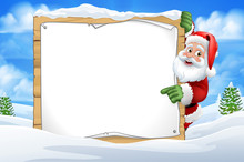 Santa Claus Peeking Around A Sign In A Snowy Winter Christmas Scene Landscape Cartoon
