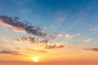 canvas print picture - Sunrise sundown sky with  soft clouds and sunbeams