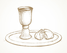 Vector Symbols Of Communion. Broken Bread And Wine In Bowl