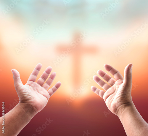 Hands with cross Canvas Print