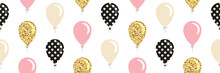 Balloons Seamless Pattern Background. For Birthday, Baby Shower Design. Glitter, Polka Dots, Pastel Pink And Beige Colors. Vector