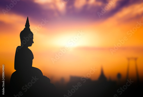 Poster Temple silhouette of buddha