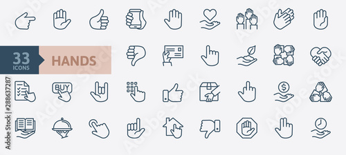 Leinwand Poster Hands gesture - minimal thin line web icon set