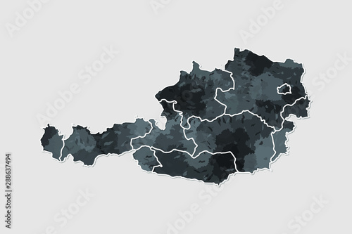 Fotografie, Obraz Austria watercolor map vector illustration of black color with border lines of d