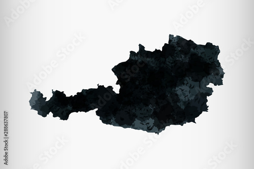 Cuadros en Lienzo  Austria watercolor map vector illustration of black color on light background us