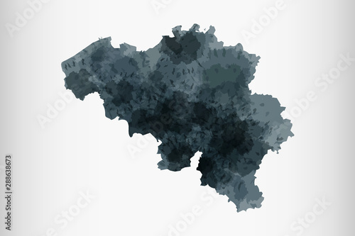 Belgium watercolor map vector illustration of black color on light background us Wallpaper Mural