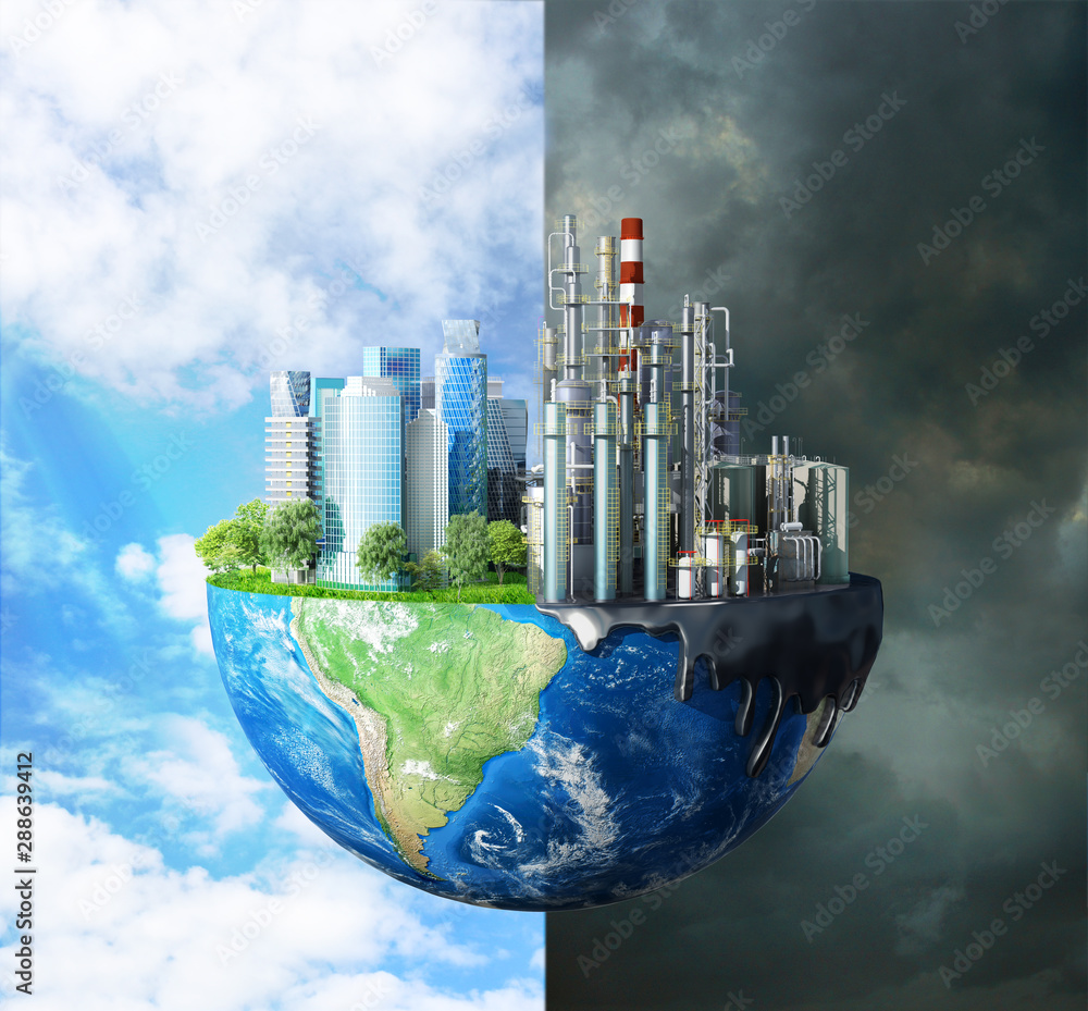 Fototapeta concept of global disaster. The contrast between pure nature, bright sky, trees and polluting cities, with large buildings and plants destroying the ecology of our planet. 3d illustration
