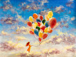 Leinwanddruck Bild - Oil painting young woman girl with multicolored balloons stands on cloud in sky. Art happiness concept artwork, happy people on canvas