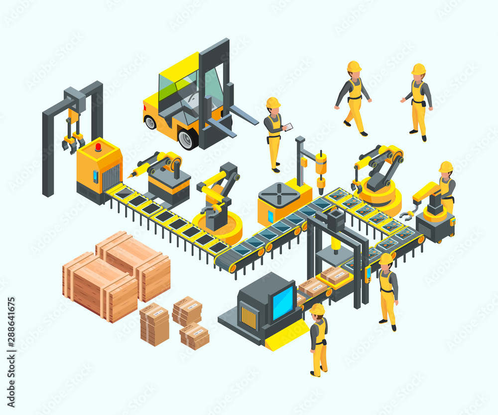 Fototapeta Factory isometric. Industrial machinery production electronics technology manufacturing vector concept of factory. Illustration isometric production, factory machinery industry