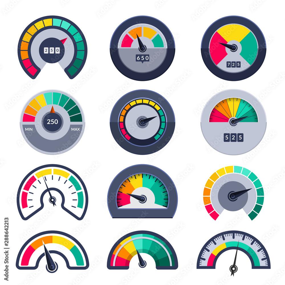 Fototapeta Speedometers symbols. Indicate level score meter indices measure vector templates. Illustration meter and level, gauge dial arrow
