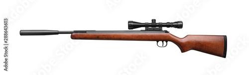 Fotografía  Air rifle isolated on white background. Pneumatic gun.