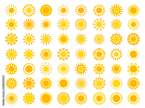 Foto auf Leinwand Texturen Sun collection. Yellow sunrise symbols nature vector stylized icon of sun. Illustration of set sun, sunshine yellow for weather app