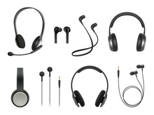 Headset Realistic. Earbuds Mus...