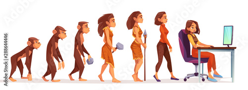 Human evolution from monkey to freelancer woman, time line Female character evolve steps from ape to uprights homo sapiens to girl at computer isolated on white background Canvas Print