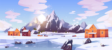 Winter Mountain Landscape With Houses Or Chalet. Ski Resort Settlement With Spruce Trees And Snowy Peaks In Canada Or North Pole. Cottages For Wintertime Holidays Vacation Cartoon Vector Illustration