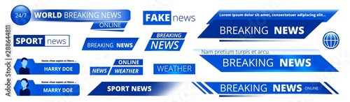 Fototapeta Breaking news. Broadcasting banners tv sport weather video interface vector graphic. News broadcasting banner, broadcast tv headline illustration obraz