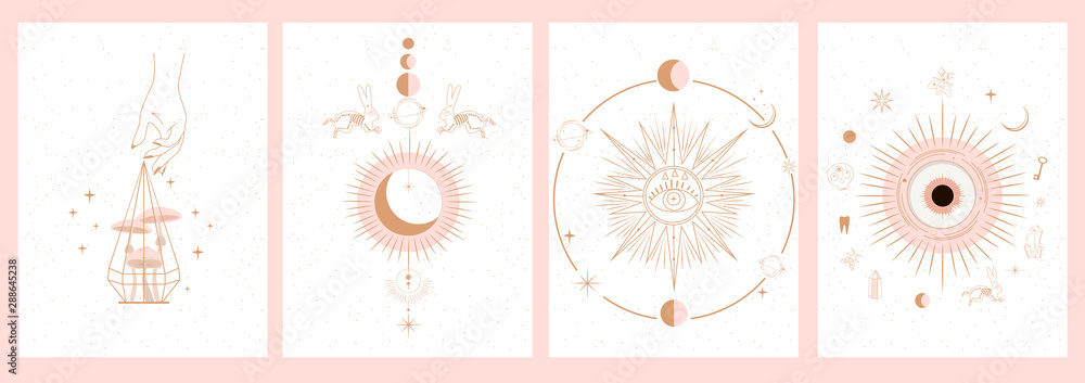 Fototapeta Collection of mystical and mysterious illustrations in hand drawn style. Skulls, animals, space objects, magic ball, crystals, hands. Minimalistic objects made in the style.