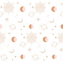 Seamless Pattern With Astrology And Space Concept. Minimalistic Objects Made In The Style Of One Line. Editable Vector Illustration.