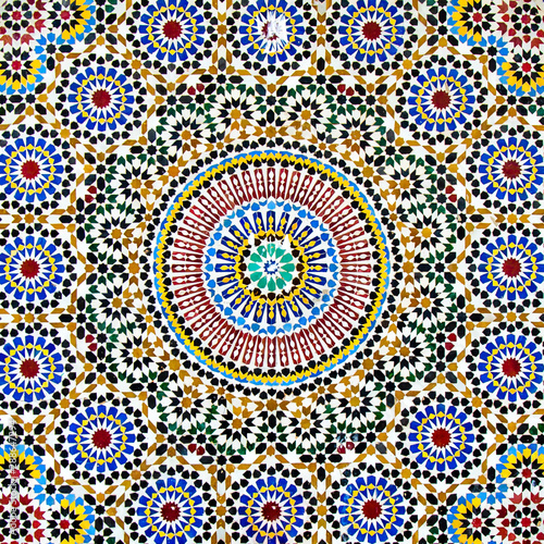 Fotografiet Ornament Hintergrund arabisch Mosaik Kacheln
