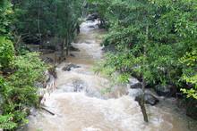 Flash Flood In Waterfall. Wild Water Flow Range.