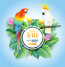 Summer Sale Card With Cockatoo...