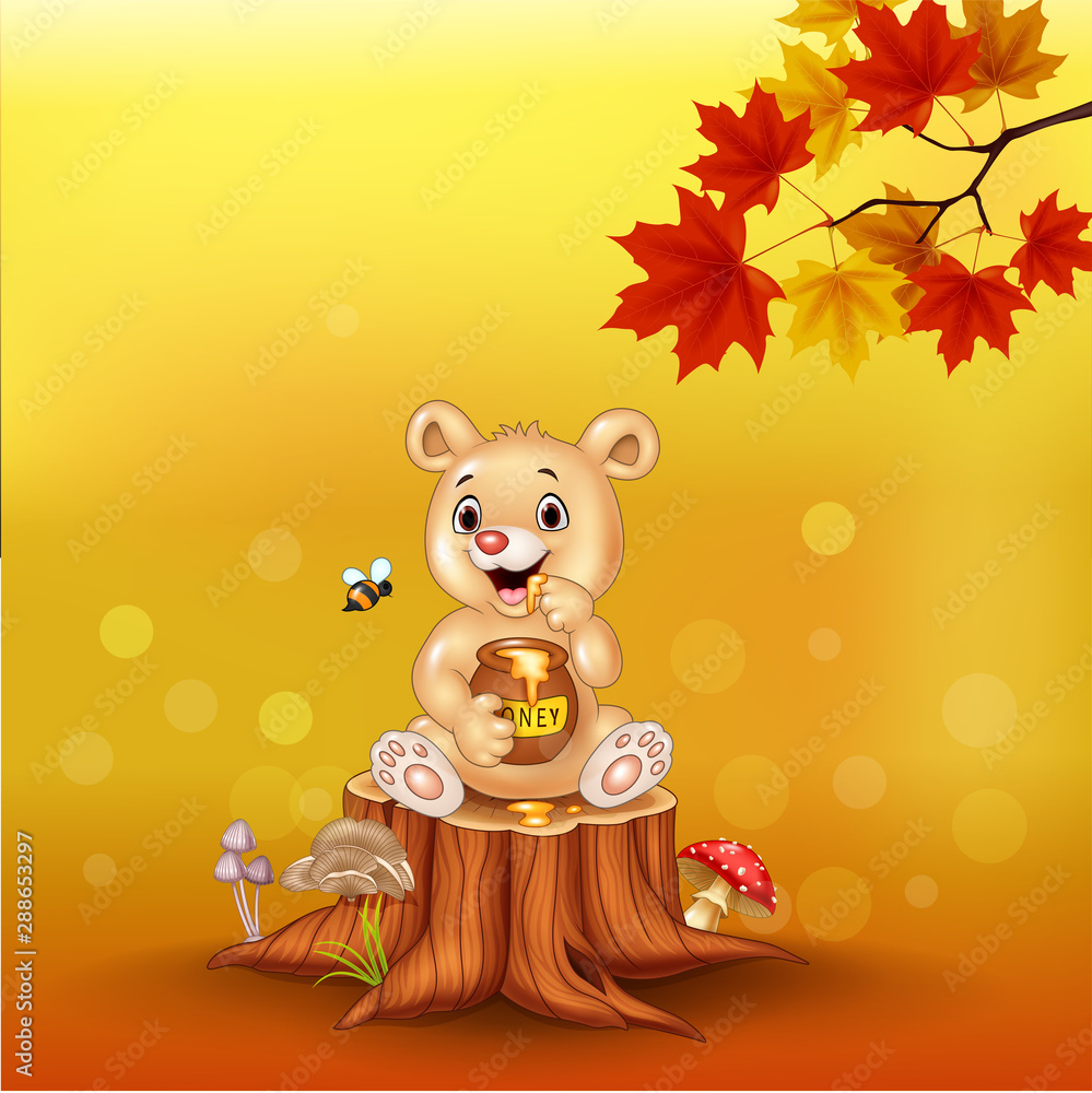 Fototapety, obrazy: Cartoon baby bear holding honey pot on tree stump