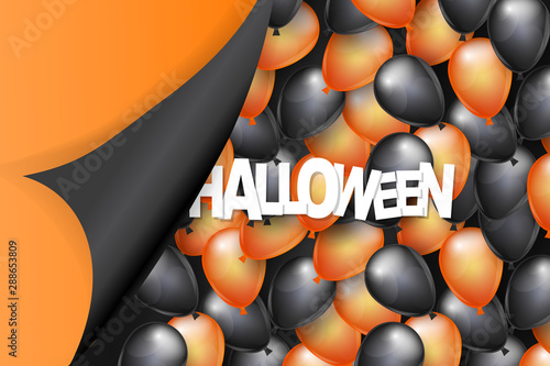 Halloween background design with black and orange balloons and pealing off curved egde wrapping paper Tapéta, Fotótapéta