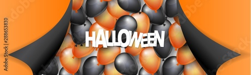 Fényképezés Halloween banner or header design with black and orange balloons and pealing off curved egdes wrapping paper