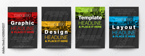 Obraz Set of Graphic Design template layout. Red, yellow, green, blue color stripe on black background for Brochure, Flyer, Poster, leaflet, Annual report, Book cover,  A4 size - fototapety do salonu