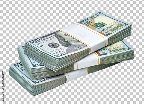New design dollar bundle on isolated background including clipping path