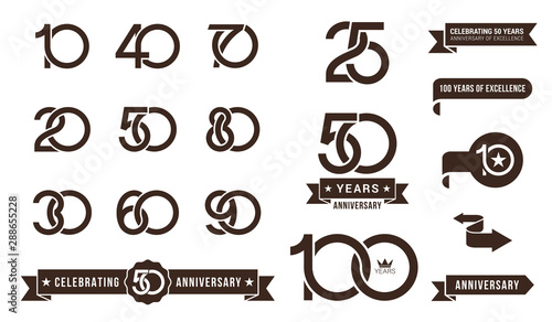 Canvas Print Set of anniversary pictogram icon and anniversary banner collection