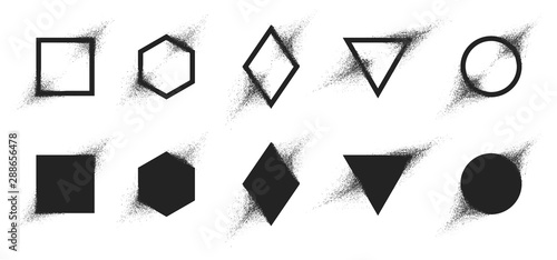 Obraz Vector set of geometric shapes with particle spray effect, Destruction of the figure turning into dust - fototapety do salonu