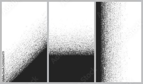 Fotografie, Obraz  Vector set of abstract backgrounds, Destruction of the line splitting particles,