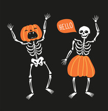 Couple Of Funny Skeletons With Pumpkins. Greeting Card For Halloween. Cute Hand Drawn Vector Design For Day Of The Dead.